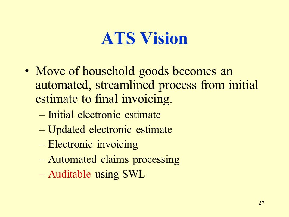 27 ATS Vision Move of household goods becomes an automated, streamlined process from initial estimate to final invoicing.