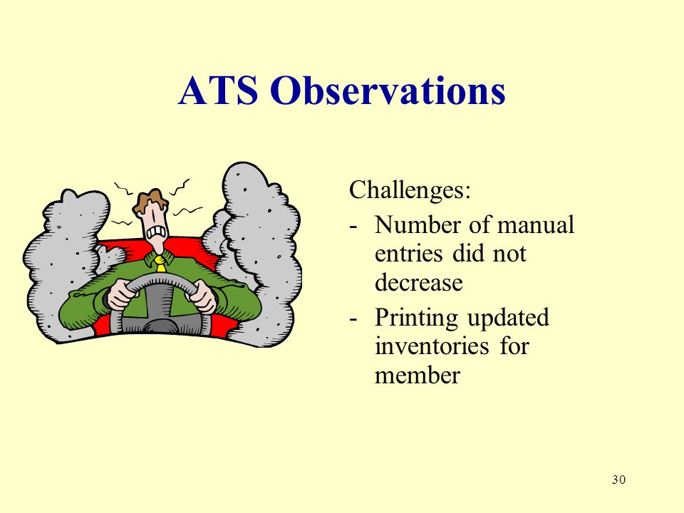 30 ATS Observations Challenges: -Number of manual entries did not decrease -Printing updated inventories for member