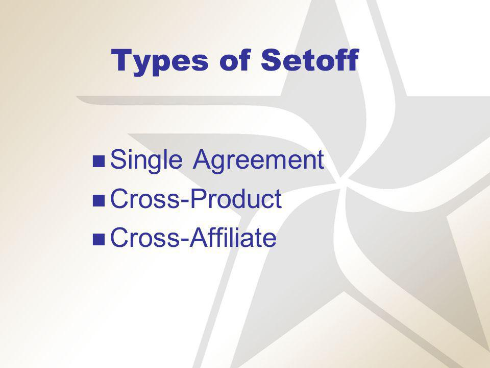 Setoff – Single Agreement Party A Party B $50,000 MMBtu $25,000 Party B:Files for bankruptcy Party A:Terminates transactions Liquidates transactions Sets off $25,000.00 against $50,000.00 Result:Party A pays Party B $25,000.00 instead of $50,000.00 Party B pays $-0- instead of $25,000.00