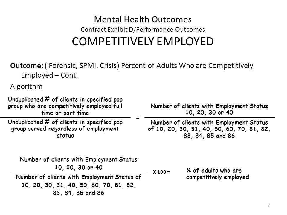 7 Mental Health Outcomes Contract Exhibit D/Performance Outcomes COMPETITIVELY EMPLOYED Outcome: ( Forensic, SPMI, Crisis) Percent of Adults Who are Competitively Employed – Cont.