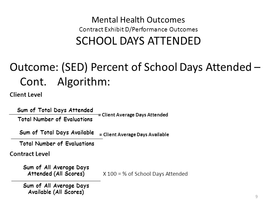 9 Mental Health Outcomes Contract Exhibit D/Performance Outcomes SCHOOL DAYS ATTENDED Outcome: (SED) Percent of School Days Attended – Cont.