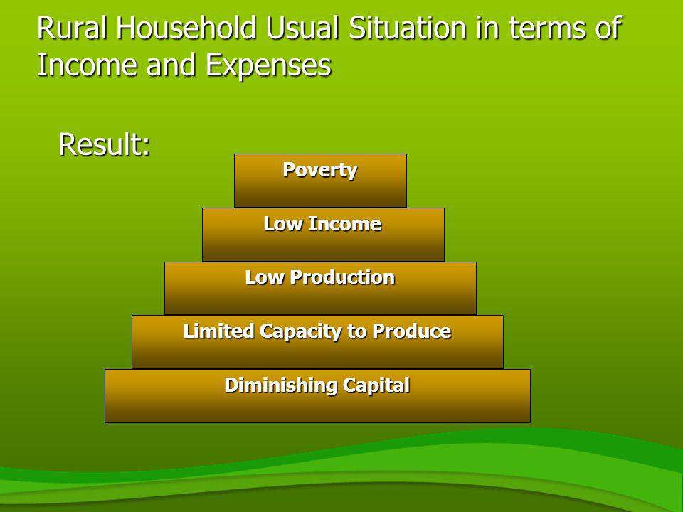 Rural Household Usual Situation in terms of Income and Expenses Result: Diminishing Capital Limited Capacity to Produce Low Production Low Income Pove