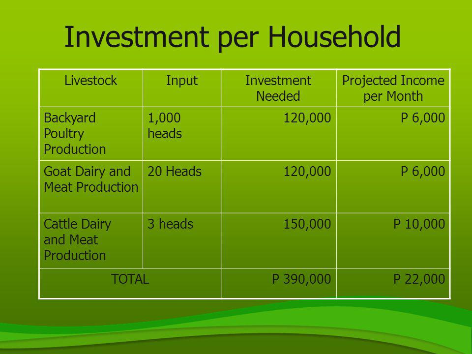 Investment per Household LivestockInputInvestment Needed Projected Income per Month Backyard Poultry Production 1,000 heads 120,000P 6,000 Goat Dairy