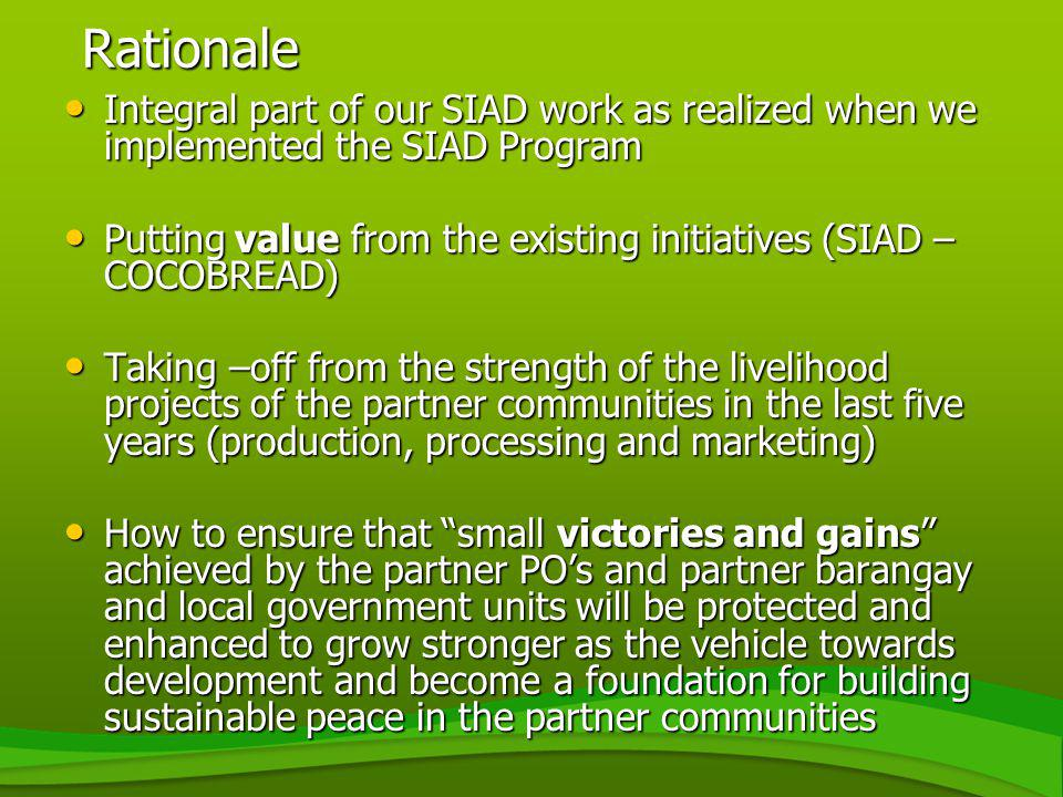 Rationale Integral part of our SIAD work as realized when we implemented the SIAD Program Integral part of our SIAD work as realized when we implement