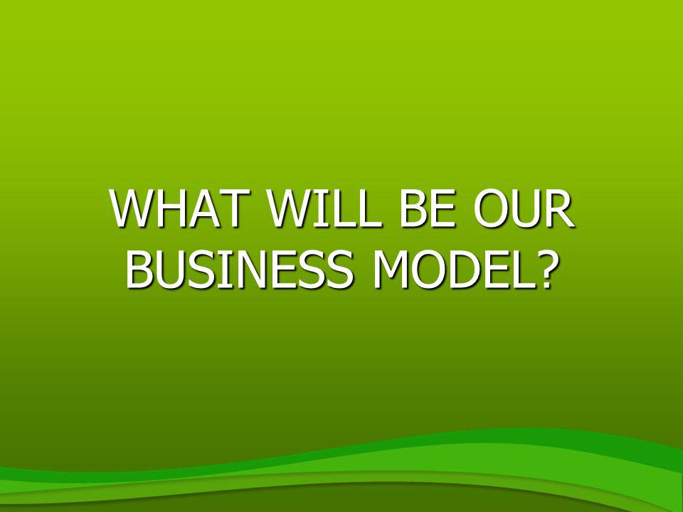 WHAT WILL BE OUR BUSINESS MODEL?