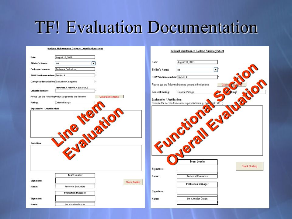 TF! Evaluation Documentation Line Item Evaluation Functional Section Overall Evaluation