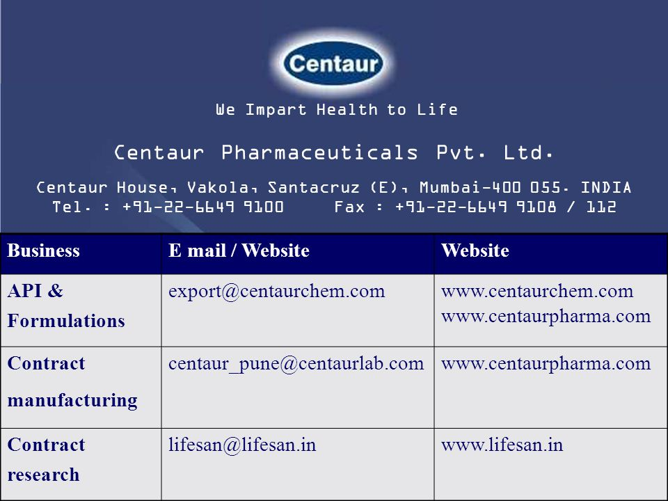We Impart Health to Life Centaur Pharmaceuticals Pvt. Ltd. Centaur House, Vakola, Santacruz (E), Mumbai-400 055. INDIA Tel. : +91-22-6649 9100 Fax : +
