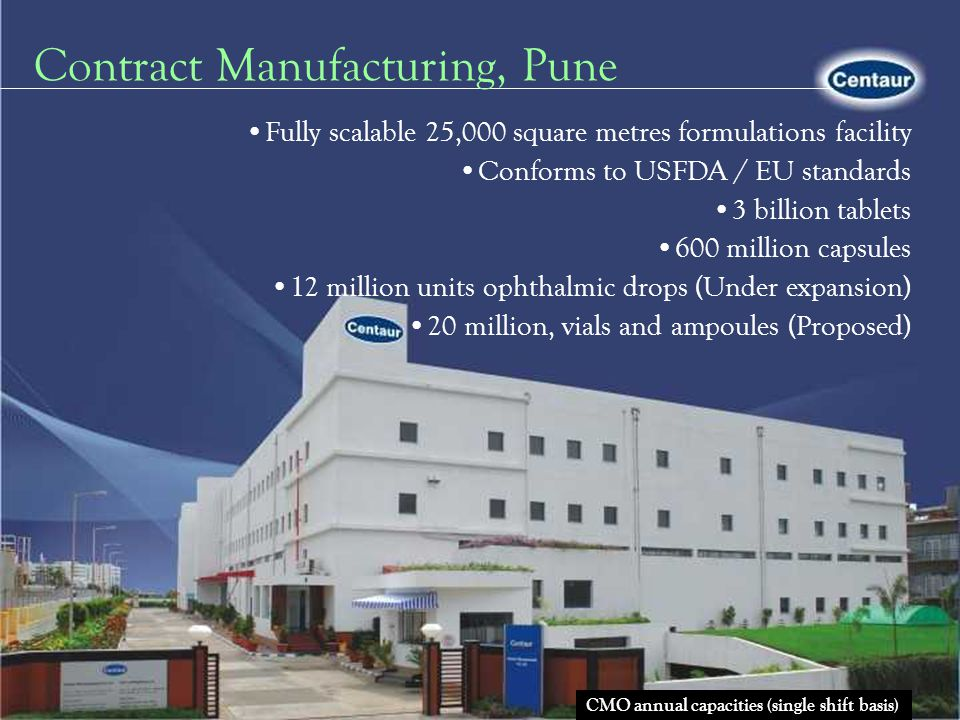 API India s largest manufacturer and exporter of Psychotropic API Introduced 24 API for the first time in India API facility conforms to US / EU standards Skill set -API, intermediates, custom synthesis, process chemistry Proficiency- Scaling up across the API value chain Clientele: Big Pharma and generic majors