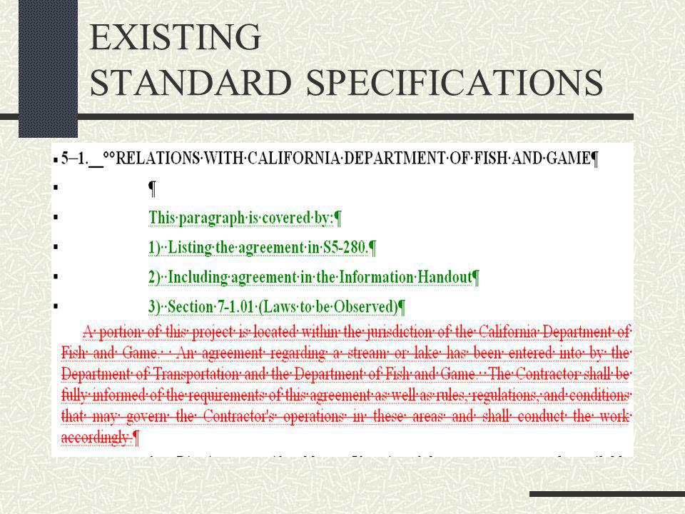 EXISTING STANDARD SPECIFICATIONS