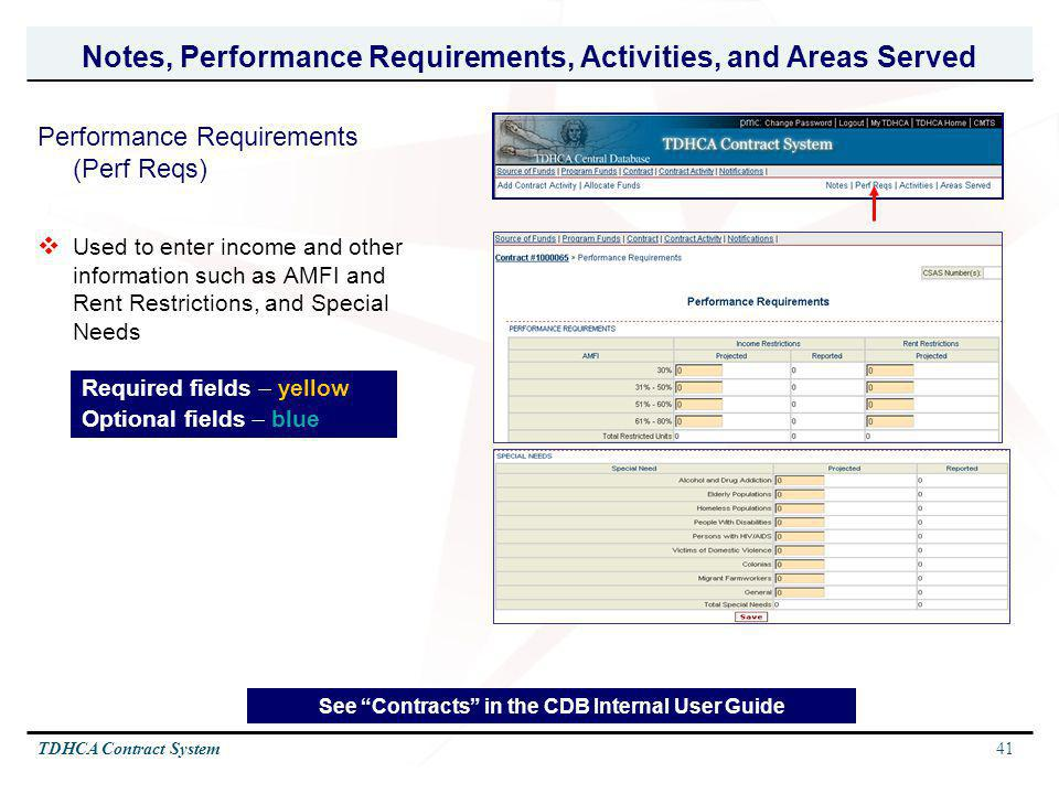 41TDHCA Contract System Notes, Performance Requirements, Activities, and Areas Served Performance Requirements (Perf Reqs) Used to enter income and ot