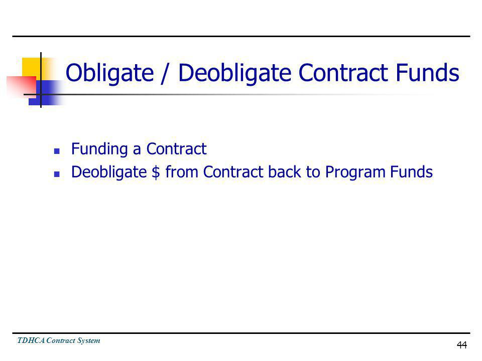 TDHCA Contract System 44 Obligate / Deobligate Contract Funds Funding a Contract Deobligate $ from Contract back to Program Funds