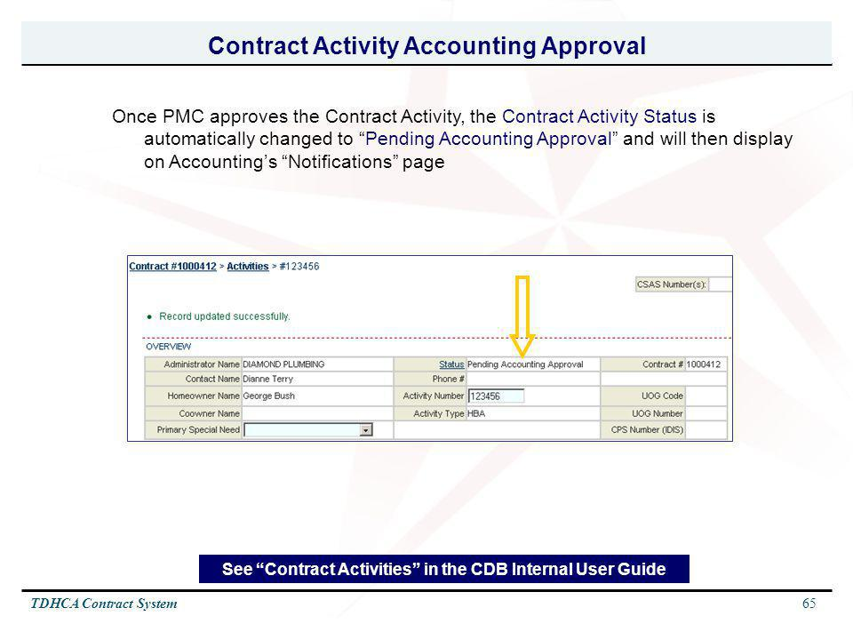 65TDHCA Contract System See Contract Activities in the CDB Internal User Guide Contract Activity Accounting Approval Once PMC approves the Contract Ac