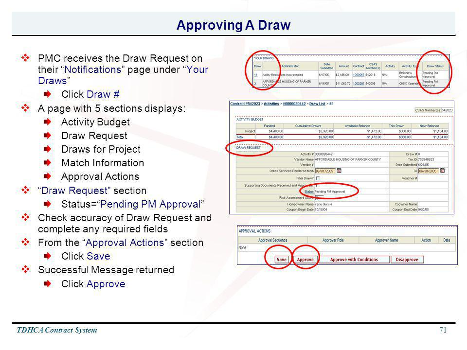 71TDHCA Contract System Approving A Draw PMC receives the Draw Request on their Notifications page under Your Draws Click Draw # A page with 5 section