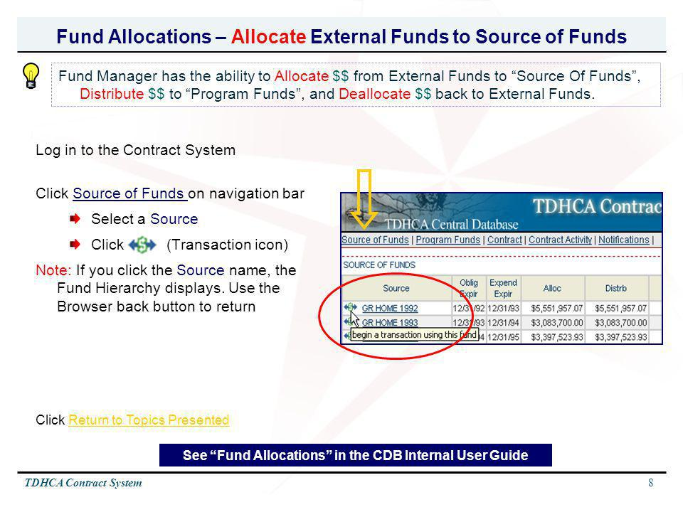 8TDHCA Contract System Fund Allocations – Allocate External Funds to Source of Funds Log in to the Contract System Click Source of Funds on navigation
