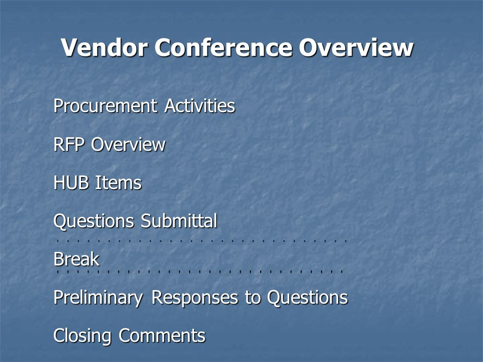 Procurement Activities Questions & Answers Questions & Answers Sole Contact, Lyn Peters - Steve Bailey, ECPS Sole Contact, Lyn Peters - Steve Bailey, ECPS Procurement Schedule Procurement Schedule Solicitation Access Solicitation Access Submission Requirements Submission Requirements Solicitation Changes Solicitation Changes Screening & Evaluation Screening & Evaluation Award Information Award Information