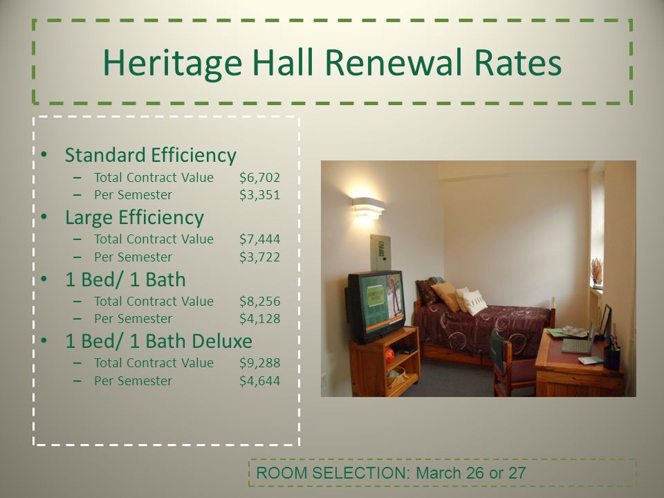 Heritage Hall Renewal Rates Standard Efficiency – Total Contract Value$6,702 – Per Semester$3,351 Large Efficiency – Total Contract Value$7,444 – Per