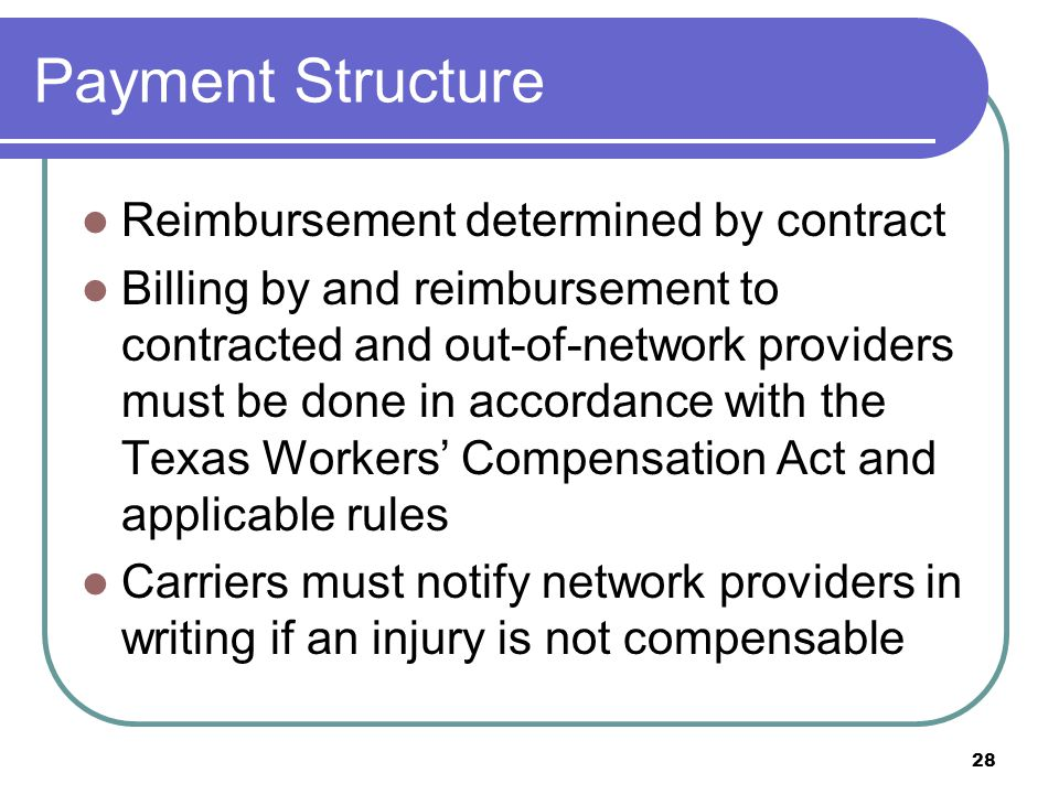 28 Payment Structure Reimbursement determined by contract Billing by and reimbursement to contracted and out-of-network providers must be done in acco