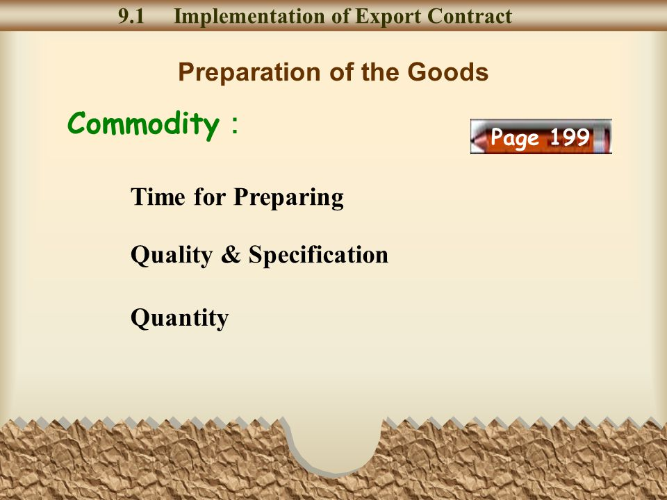 Preparation of the Goods 9.1 Implementation of Export Contract Quality & Specification Quantity Time for Preparing Commodity Page 199