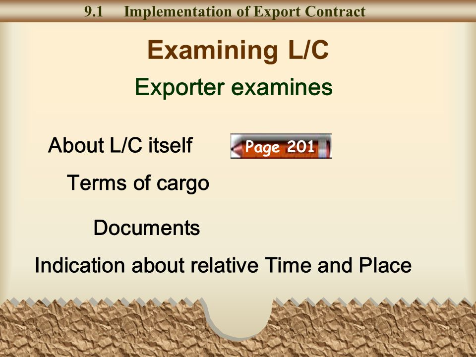 Examining L/C 9.1 Implementation of Export Contract Exporter examines About L/C itself Terms of cargo Documents Indication about relative Time and Place Page 201