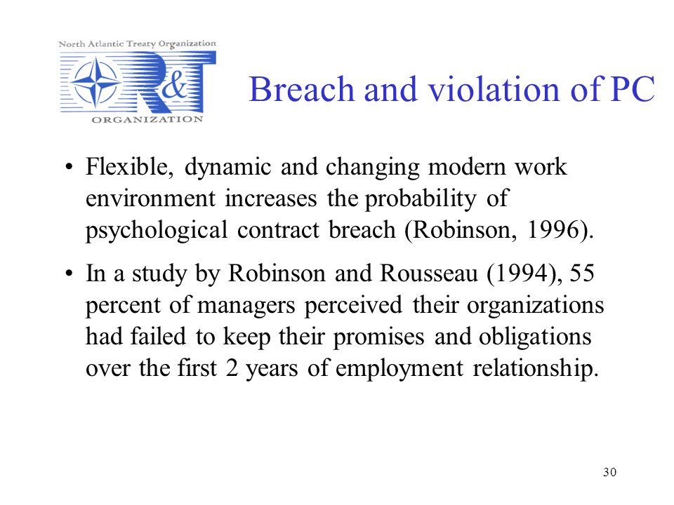 30 Breach and violation of PC Flexible, dynamic and changing modern work environment increases the probability of psychological contract breach (Robin