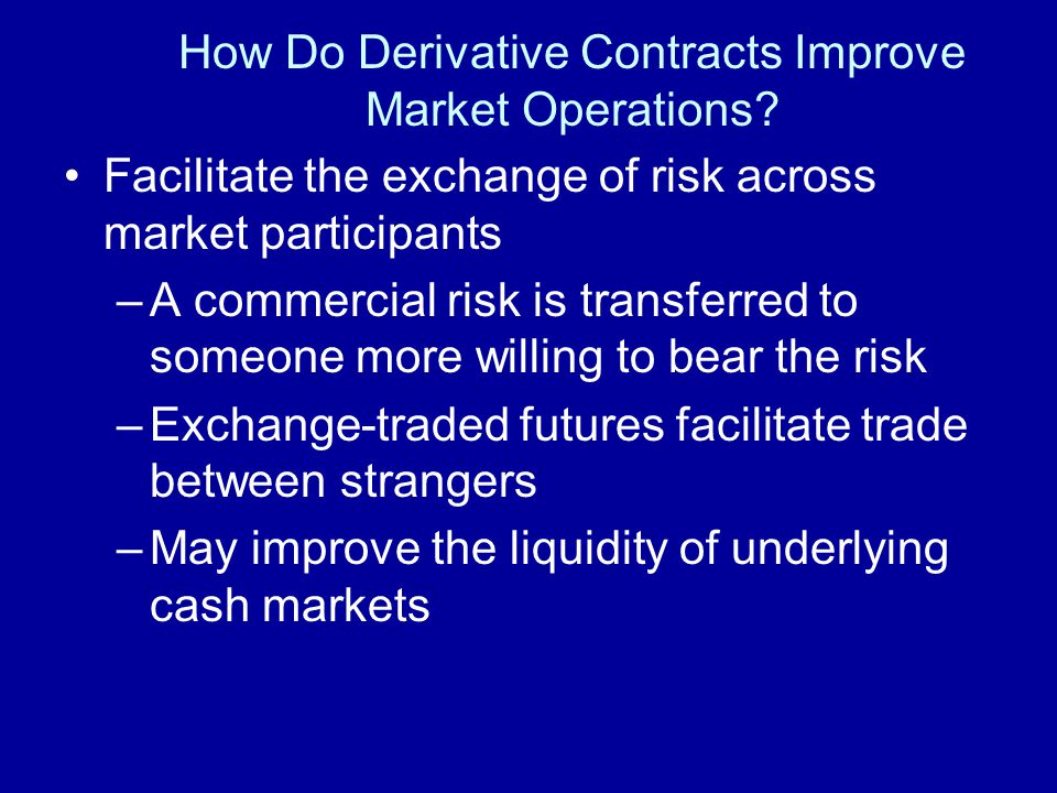 How Do Derivative Contracts Improve Market Operations.