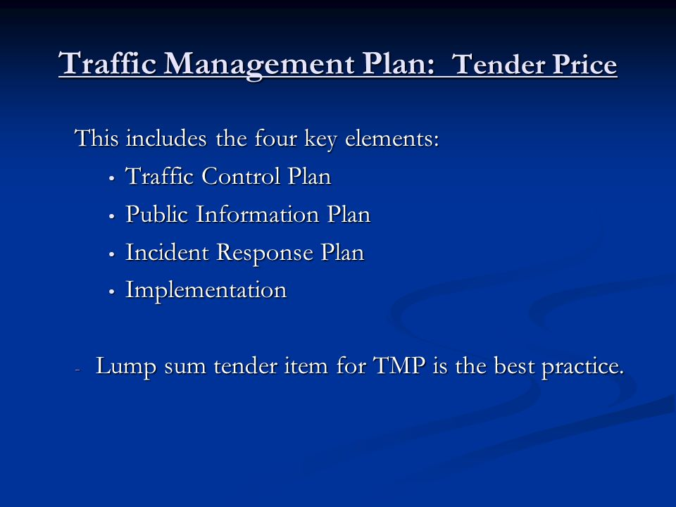 Expect: Expect: - Payment adjustments for non-compliance - careful reviews by the ministry of the QMP and TMP once the contractor has completed their quality review contractor has completed their quality review - contractor to be accountable for: - any deficiencies in the TMP and QMP - to ensure their own compliance with QMP and TMP - taking corrective actions when required - any deficiencies in the TMP and QMP - to ensure their own compliance with QMP and TMP - taking corrective actions when required - periodic auditing - periodic auditing - Stop Work Orders for material non-compliance of TMP - Stop Work Orders for material non-compliance of TMP Do not Expect: Do not Expect: - to start work in traffic without an accepted QMP and TMP - ministry to hand over a corrected QMP and TMP