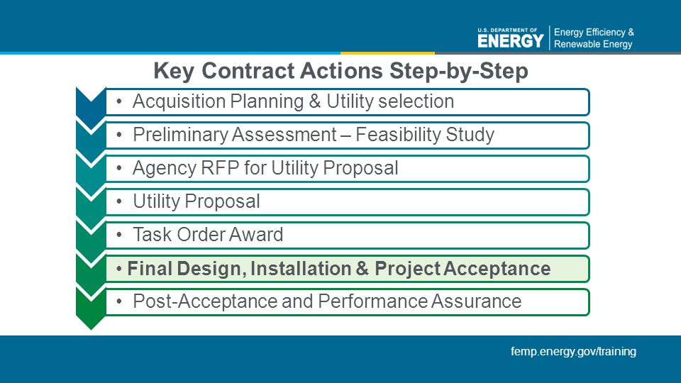 femp.energy.gov/training Acquisition Planning & Utility selectionPreliminary Assessment – Feasibility StudyAgency RFP for Utility ProposalUtility Prop