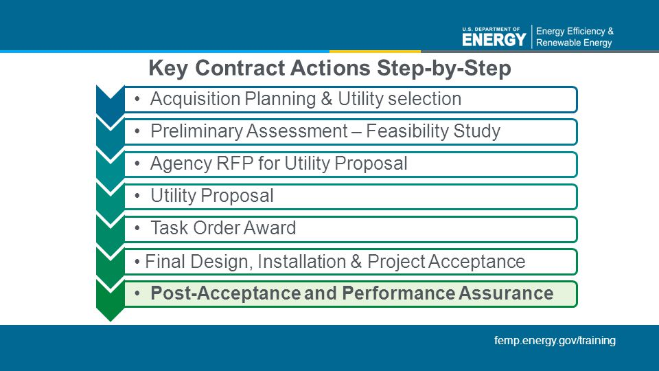 femp.energy.gov/training Acquisition Planning & Utility selectionPreliminary Assessment – Feasibility StudyAgency RFP for Utility ProposalUtility ProposalTask Order Award Final Design, Installation & Project Acceptance Post-Acceptance and Performance Assurance Key Contract Actions Step-by-Step