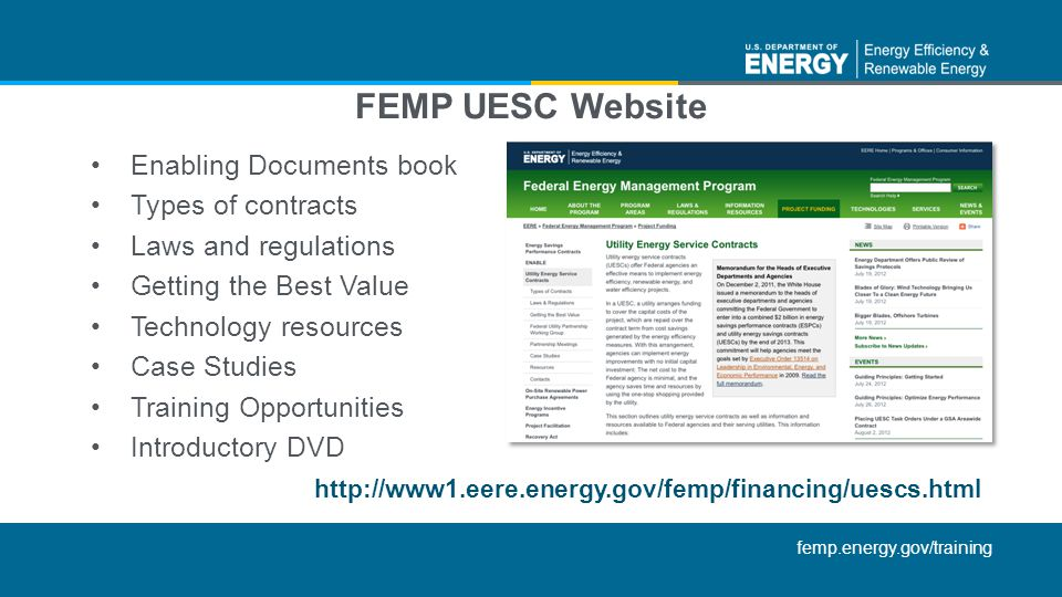 femp.energy.gov/training Enabling Documents book Types of contracts Laws and regulations Getting the Best Value Technology resources Case Studies Trai