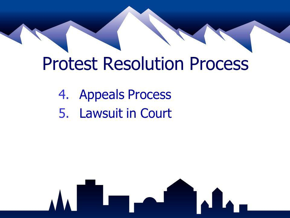 Protest Resolution Process 4.Appeals Process 5.Lawsuit in Court