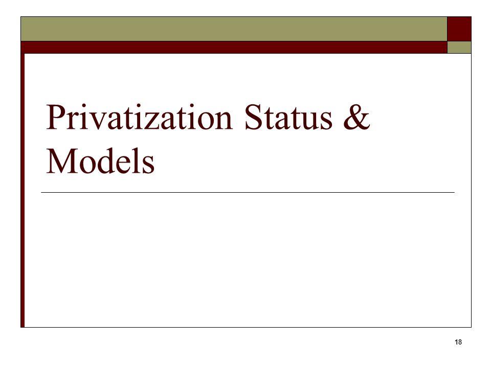 18 Privatization Status & Models
