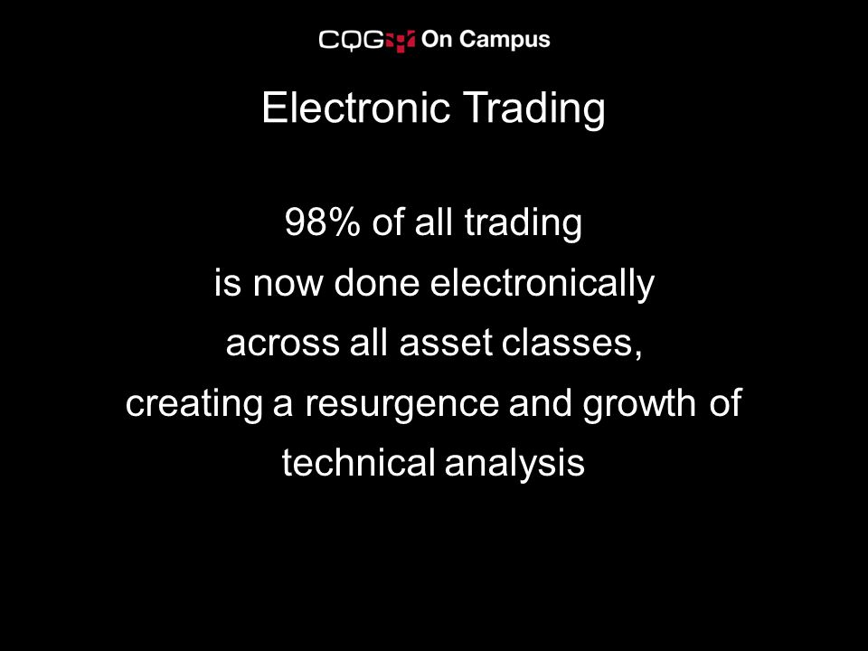 98% of all trading is now done electronically across all asset classes, creating a resurgence and growth of technical analysis Electronic Trading
