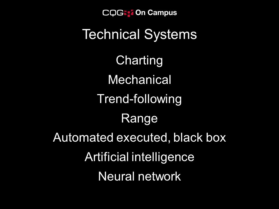 Charting Mechanical Trend-following Range Automated executed, black box Artificial intelligence Neural network Technical Systems