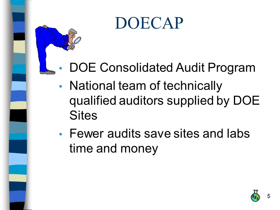 5 DOECAP DOE Consolidated Audit Program National team of technically qualified auditors supplied by DOE Sites Fewer audits save sites and labs time and money