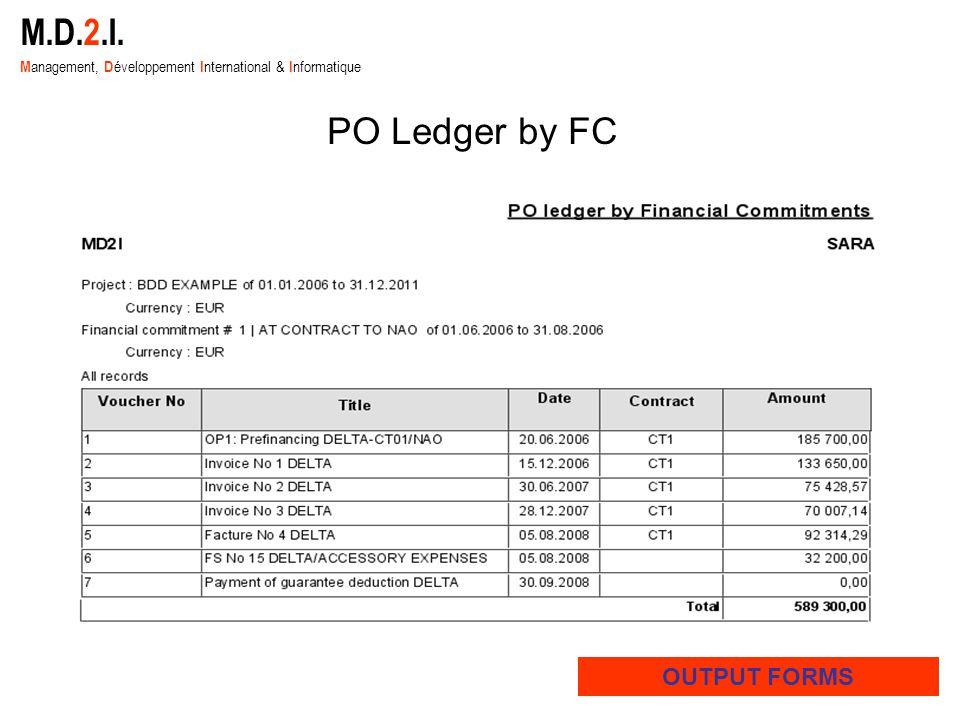 M.D.2.I. M anagement, D éveloppement I nternational & I nformatique OUTPUT FORMS PO Ledger by FC