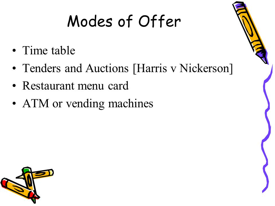 Modes of Offer Time table Tenders and Auctions [Harris v Nickerson] Restaurant menu card ATM or vending machines