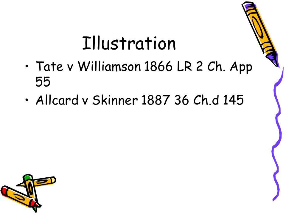 Illustration Tate v Williamson 1866 LR 2 Ch. App 55 Allcard v Skinner 1887 36 Ch.d 145