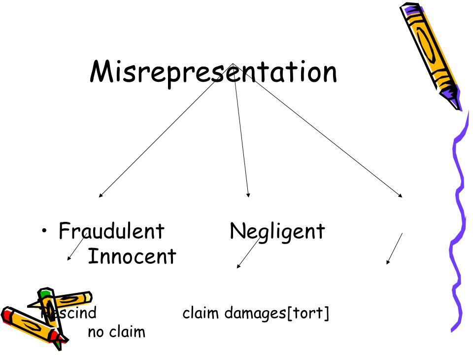 Misrepresentation FraudulentNegligent Innocent Rescindclaim damages[tort] no claim