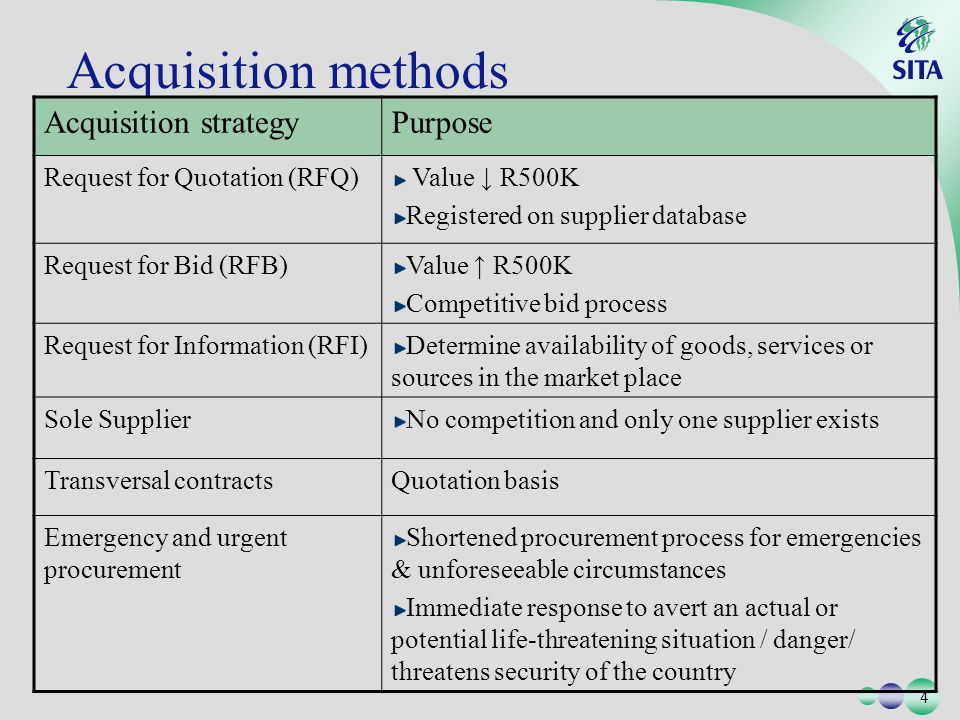 4 4 Acquisition methods Acquisition strategyPurpose Request for Quotation (RFQ) Value R500K Registered on supplier database Request for Bid (RFB)Value R500K Competitive bid process Request for Information (RFI)Determine availability of goods, services or sources in the market place Sole SupplierNo competition and only one supplier exists Transversal contractsQuotation basis Emergency and urgent procurement Shortened procurement process for emergencies & unforeseeable circumstances Immediate response to avert an actual or potential life-threatening situation / danger/ threatens security of the country