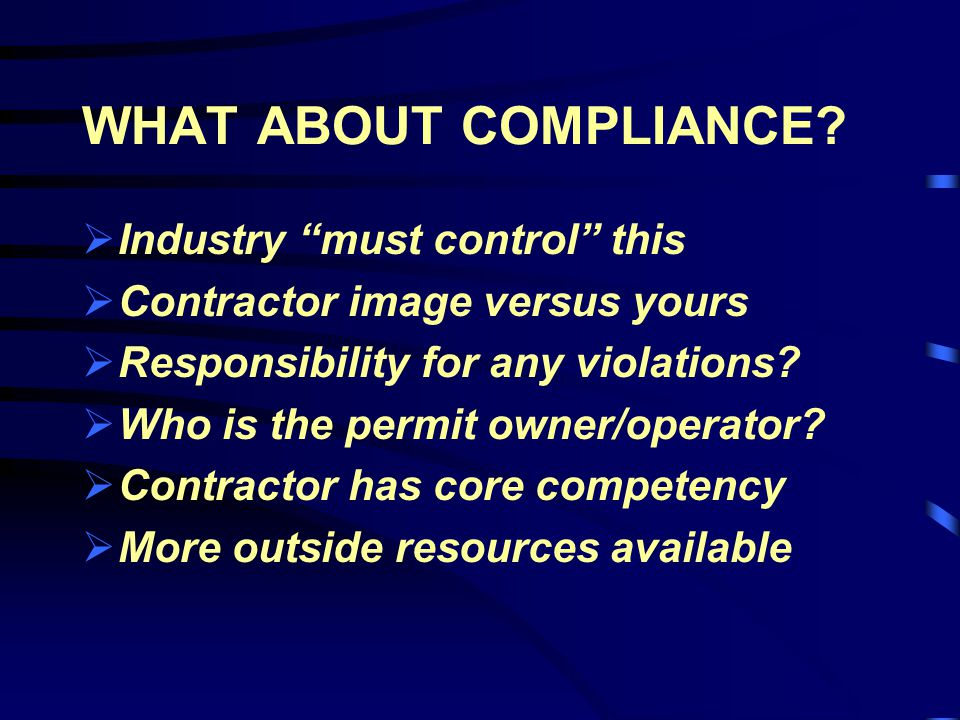 WHAT ABOUT COMPLIANCE.