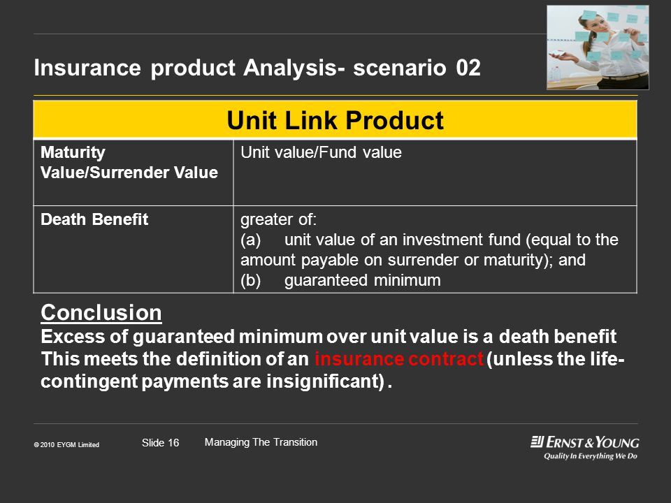 © 2010 EYGM Limited Managing The Transition Slide 16 Insurance product Analysis- scenario 02 Unit Link Product Maturity Value/Surrender Value Unit value/Fund value Death Benefitgreater of: (a) unit value of an investment fund (equal to the amount payable on surrender or maturity); and (b) guaranteed minimum Conclusion Excess of guaranteed minimum over unit value is a death benefit This meets the definition of an insurance contract (unless the life- contingent payments are insignificant).