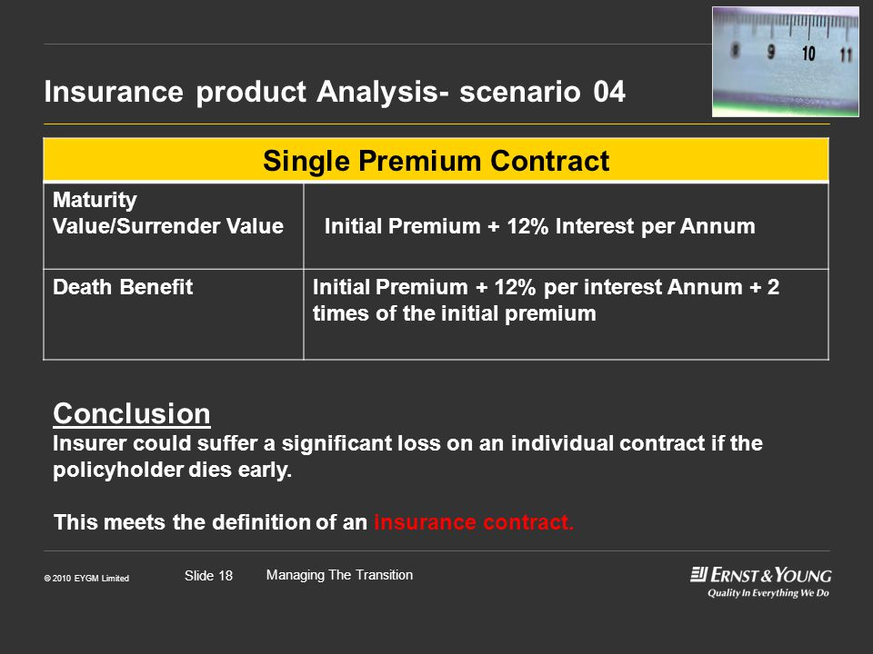 © 2010 EYGM Limited Managing The Transition Slide 18 Insurance product Analysis- scenario 04 bb Single Premium Contract Maturity Value/Surrender Value Initial Premium + 12% Interest per Annum Death BenefitInitial Premium + 12% per interest Annum + 2 times of the initial premium Conclusion Insurer could suffer a significant loss on an individual contract if the policyholder dies early.