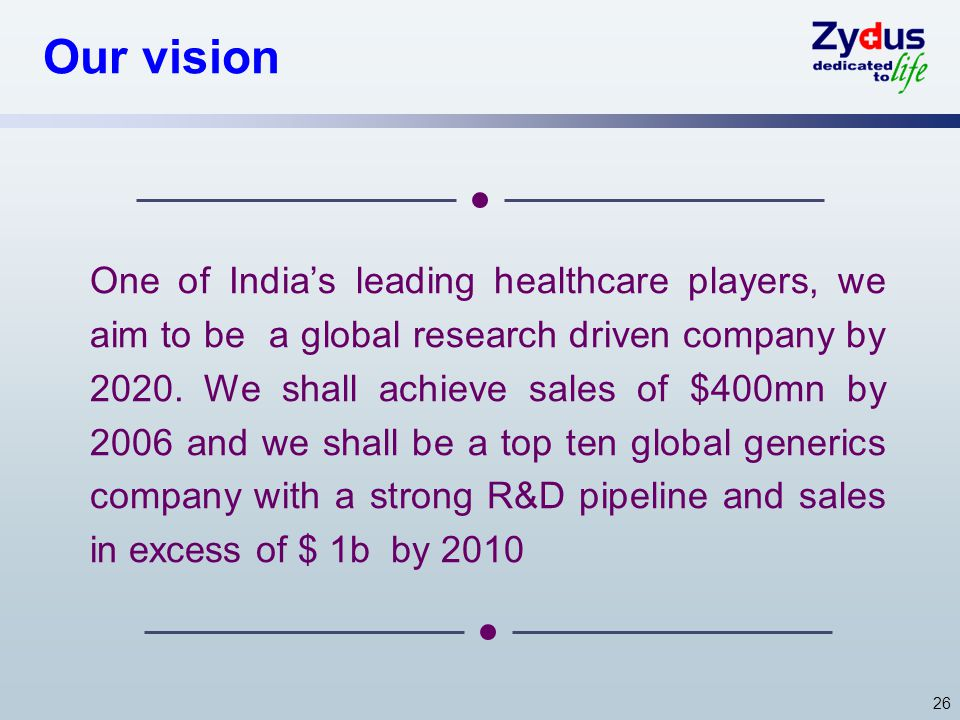 26 Our vision One of Indias leading healthcare players, we aim to be a global research driven company by 2020. We shall achieve sales of $400mn by 200