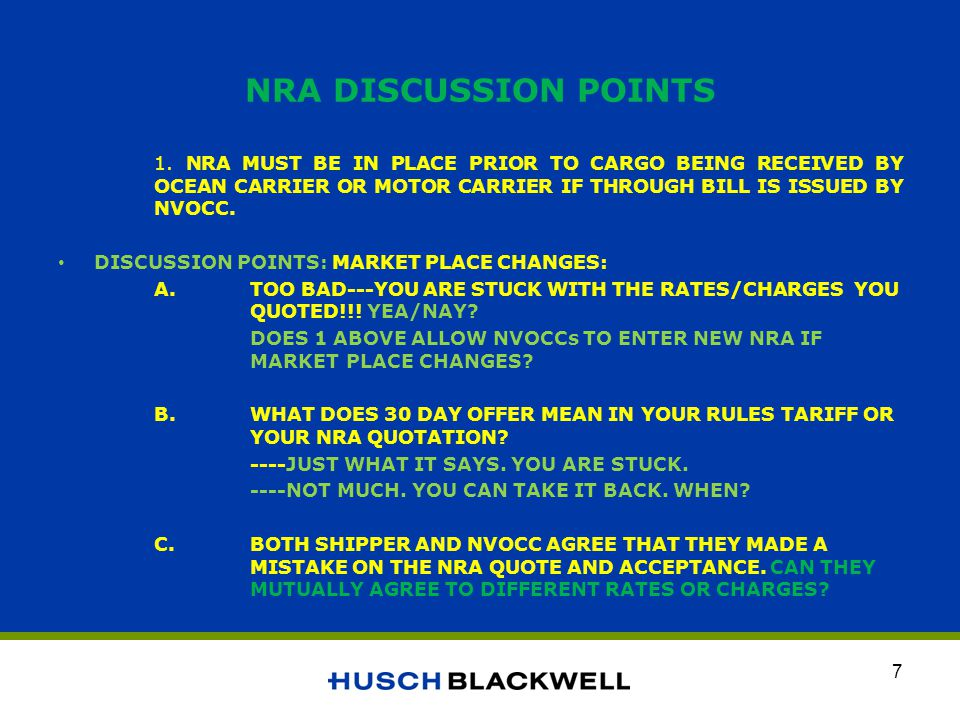 NRA DISCUSSION POINTS 1.