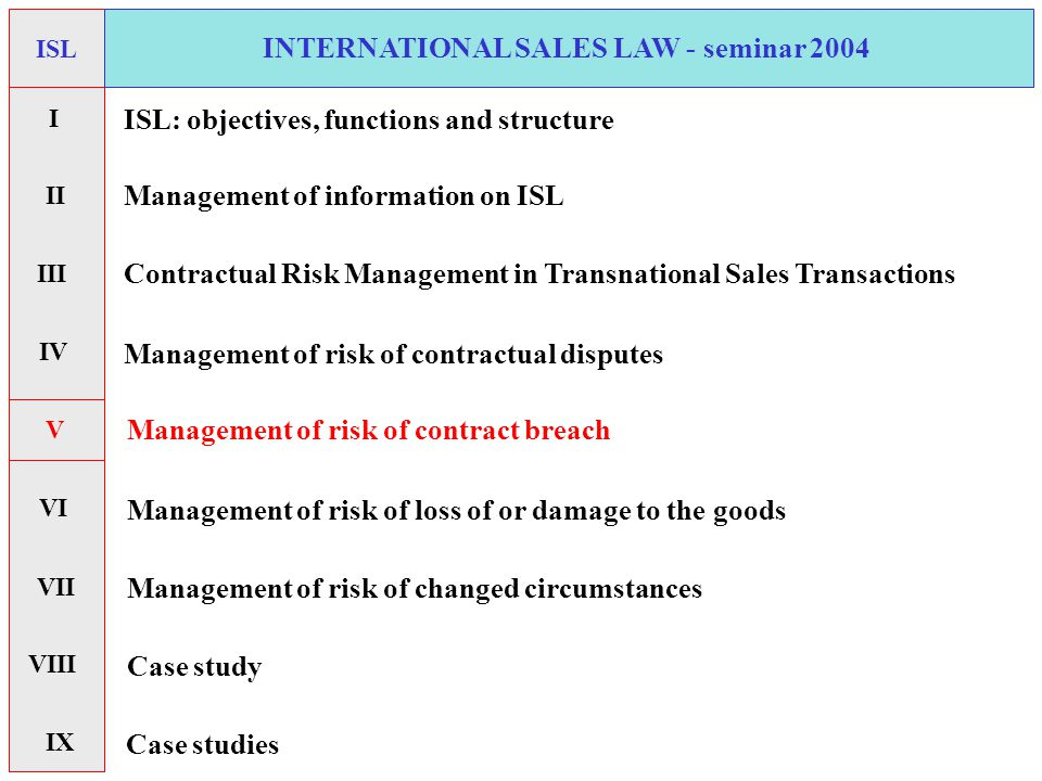 INTERNATIONAL SALES LAW - seminar 2004 ISL Contractual Risk Management in Transnational Sales Transactions ISL: objectives, functions and structure Management of information on ISL Management of risk of contractual disputes Management of risk of contract breach Management of risk of loss of or damage to the goods Management of risk of changed circumstances Case study Case studies I II V VI VII IX IV VIII III