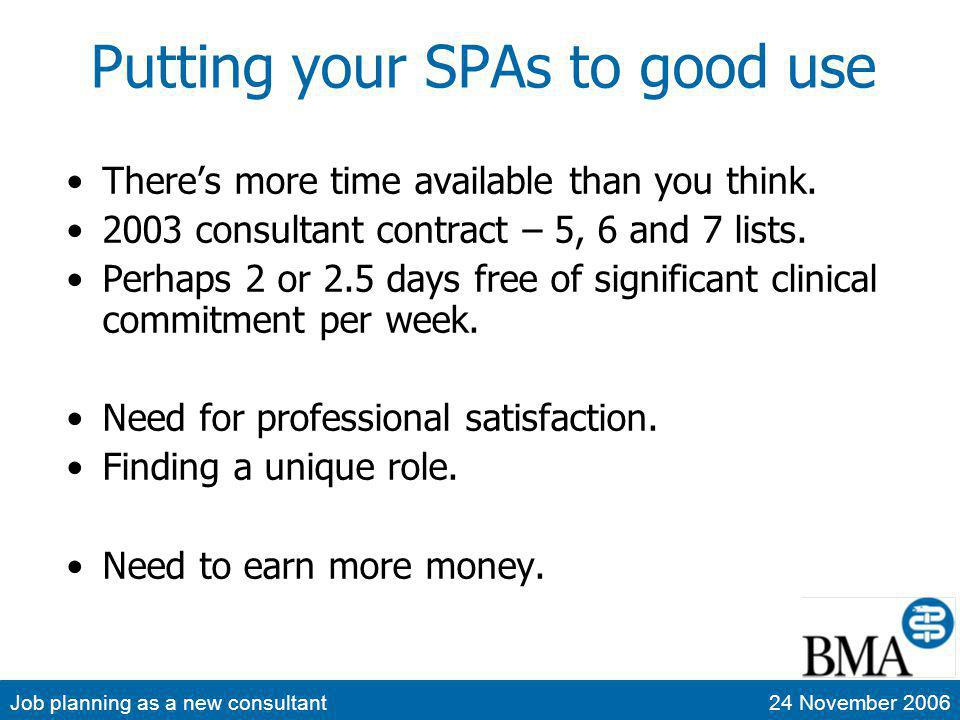 Job planning as a new consultant24 November 2006 Putting your SPAs to good use Theres more time available than you think. 2003 consultant contract – 5