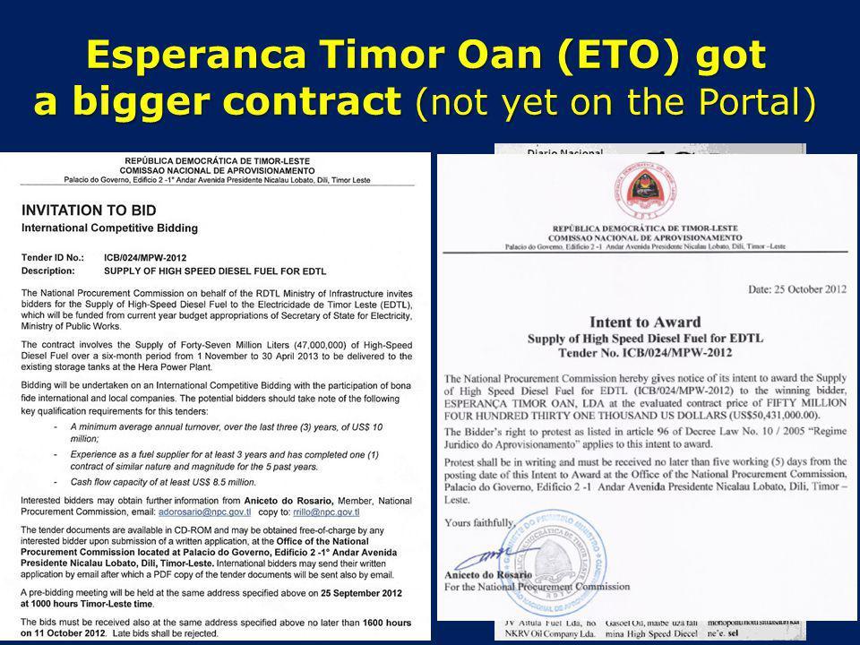 Esperanca Timor Oan (ETO) got a bigger contract (not yet on the Portal)