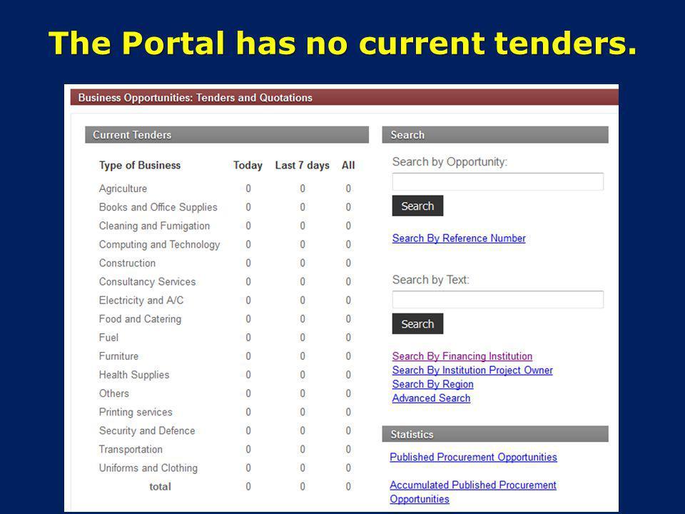 The Portal has no current tenders.