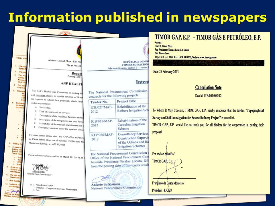 Information published in newspapers
