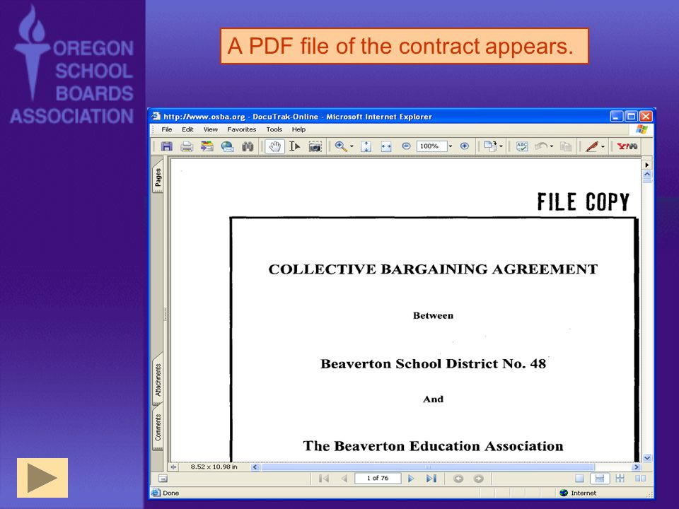 A PDF file of the contract appears.